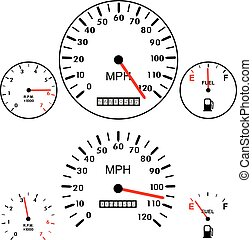 vector car dashboards with tachometer, speedometer and gasoline gauges