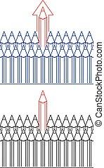 vector symbol of pencils, leadership concept
