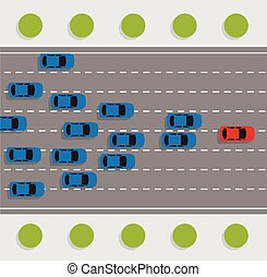 vector leadership concept with car road rally