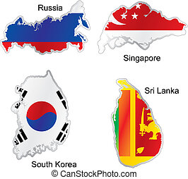 isolated asian flags in map shape