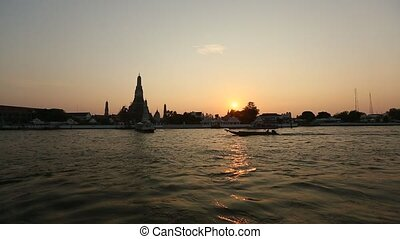 Local transport boat on Chao Phraya river in Bangkok,...