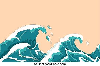 Ocean big wave seamless in Japanese style Water splash,...