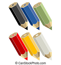 crayons - Color pencils over white background