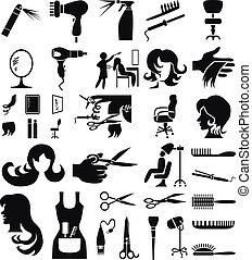 Hairdressing equipment icon set. Vector Illustration.