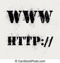 Internet background symbols - Internet grunge text on ink...
