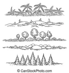 Nature line landscape set - Nature doodle landscapes Hand...