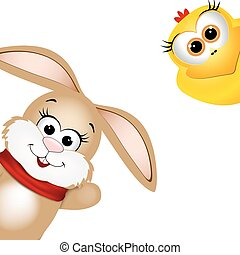 Funny Easter rabbit and yellow chicken.