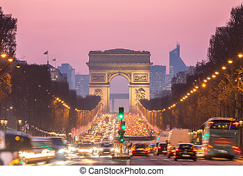 Arc of Triomphe Champs-Elysees Paris France - Arc of...