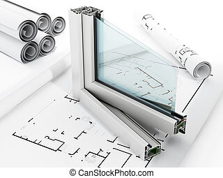 PVC window detail isolated on white background