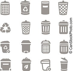 Trash can and recycle bin icons Garbage and rubbish, clean...