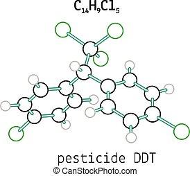 C14H9Cl5 pesticide DDT molecule - C14H9Cl5 pesticide DDT 3d...