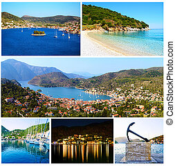 collage of Ithaca island Greece - collage of Ithaca Ionian...
