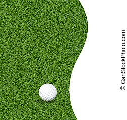golf ball on a green lawn - Golf ball on green grass, vector...