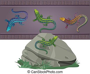 set of lizards of various colors