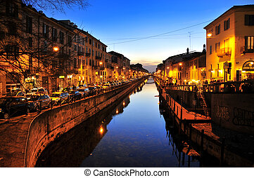 Navigli Milan by night - Picture of a particular site of...