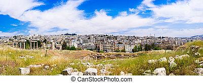 Jordan Cityscape - Panorama of Amman, Jordan.