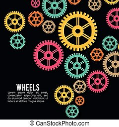 Industrial wheel design with colors background, vector...