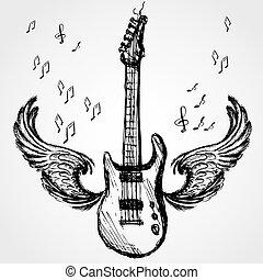 rock guitar and wings