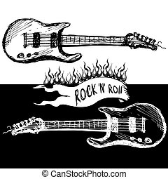 Two guitars, black and white