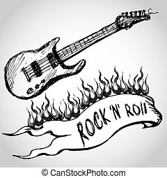 guitar, flames, rock and roll. Hand drawing. vector