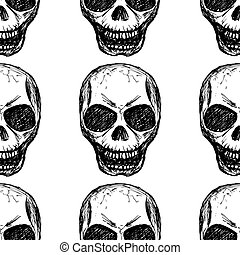 eamless pattern skull on white background - Seamless pattern...