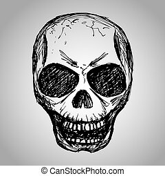 Skull Hand drawing, vector