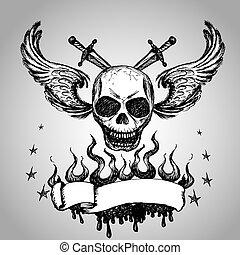 Skulls Wings Tattoo, hand drawing