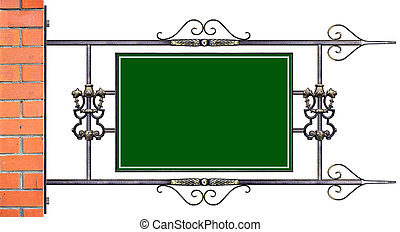 A sign in wrought iron frame - Green sign in with decorative...