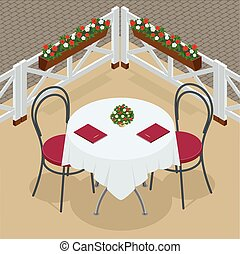 Table with chairs for cafes. Modern table and chairs on white background. Street cafe. Flat 3d vector isometric illustration.