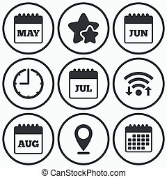 Calendar. May, June, July and August. - Clock, wifi and...