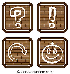 Brick buttons with icons of graphi - Vector illustration...