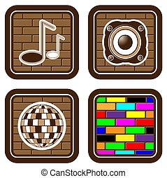 Brick buttons with musical icons f - Vector illustration...