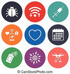 Bug and vaccine signs Heart, spray can icons - Wifi, mobile...