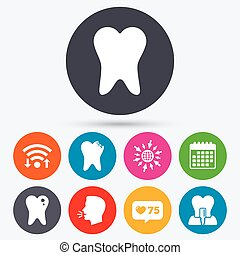 Dental care icons Caries tooth and implant - Wifi, like...