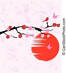 cherry blossom - vector cherry blossom with birds and moon