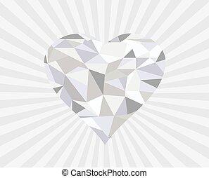 diamond heart  - vector diamond heart