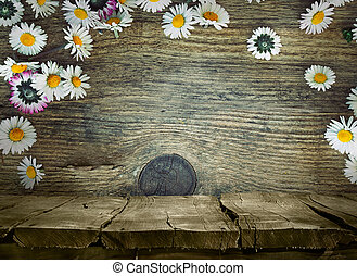 Wood planks with daisies Wood table Wooden planks