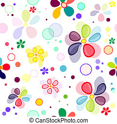 Seamless floral vivid pattern with deformed flowers vector...