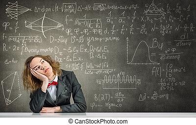 Sleeping woman in classroom