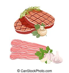 Set of meat products Cutlet with vegetables and bacon