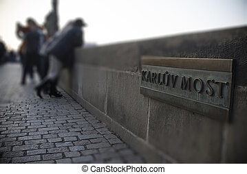 quot;Karluv mostquot; name board on a stone parapet of...