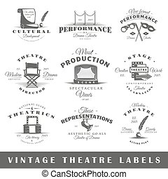 Set of vintage theatre labels - Set of theatre labels....