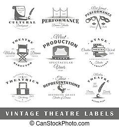 Set of vintage theatre labels - Set of theatre labels...