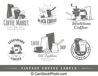 Set of vintage coffee labels