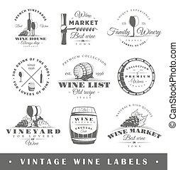 Set of vintage wine labels - Set of wine labels. Elements...