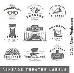 Set of vintage theatre labels - Set of theatre labels....