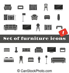 Set of furniture icons - Big set of furniture icons isolated...