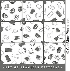 Set of seamless patterns coffee elements