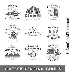 Set of vintage camping labels