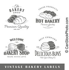 Set of vintage bakery labels